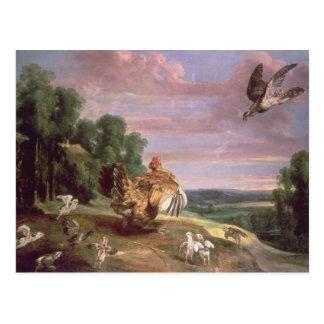 El halcón y la gallina tarjetas postales