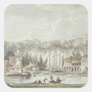 El Hameau Trianon pequeno 1786 Calcomanías Cuadradas Personalizadas