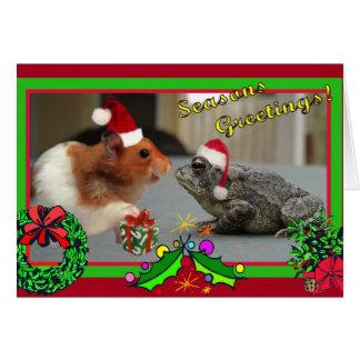 El hámster y el sapo celebran navidad tarjeta de felicitación