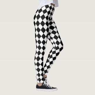 El Harlequin blanco y negro comprueba el modelo Leggings