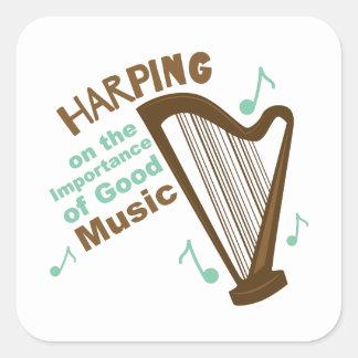 El Harping en de la buena música Pegatina Cuadrada