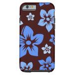 el hawaiian azul y marrón florece la caja del funda de iPhone 6 tough