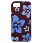 el hawaiian azul y marrón florece la caja del ipho iPhone 5 cobertura