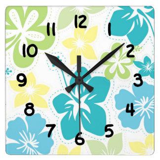 El hawaiian tropical del hibisco florece la reloj cuadrado