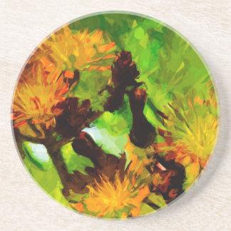 El Hawkweed anaranjado florece impresionismo Posavasos Personalizados
