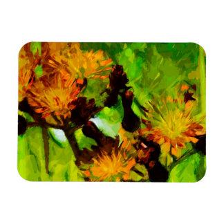 El Hawkweed anaranjado florece impresionismo Rectangle Magnet