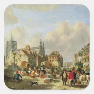 El Haymarket, Norwich, 1825 (aceite en el panel) Pegatina Cuadradas