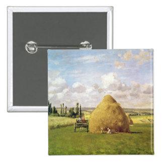 El haystack, Pontoise, 1873 Pin Cuadrada 5 Cm