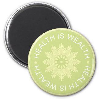 El ~Health de tres citas de la palabra es Wealth~ Imán Redondo 5 Cm