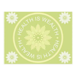 El ~Health de tres citas de la palabra es Wealth~ Tarjeta Postal