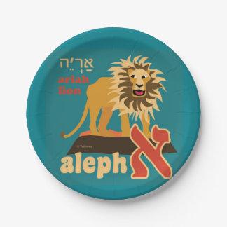 El hebreo Aleph apostó las placas de papel Platos De Papel