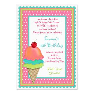 El helado trata invitaciones del cumpleaños
