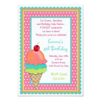 """El helado trata invitaciones del cumpleaños invitación 5"""" x 7"""""""