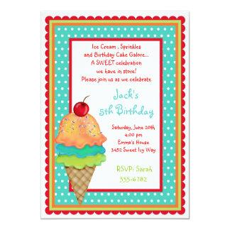 El helado trata invitaciones del muchacho del anuncio personalizado