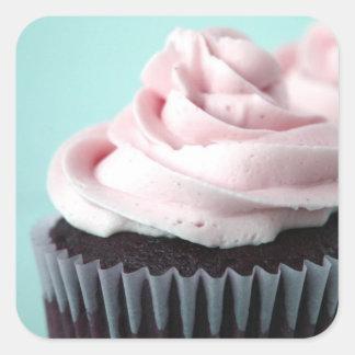 El helar de la vainilla del rosa de la magdalena calcomania cuadrada personalizada