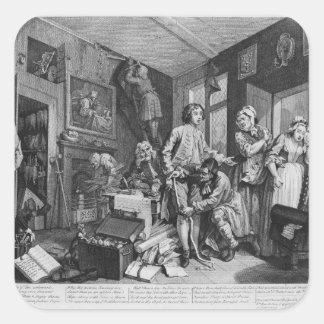 El heredero joven toma la posesión de calcomanía cuadradas