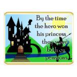 El héroe gana a la princesa postales