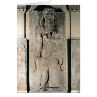 El héroe Gilgamesh que sostiene un león Tarjeta De Felicitación