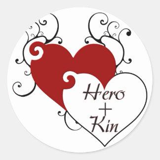 El héroe más corazón de los parentescos remolina pegatina redonda