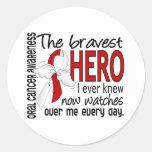 El héroe más valiente conocía nunca al cáncer oral pegatina redonda