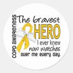 El héroe más valiente sabía COPD Pegatina Redonda