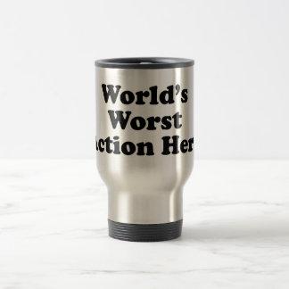 El héroe peor de la acción del mundo taza de viaje
