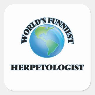 El Herpetologist más divertido del mundo Pegatina Cuadrada