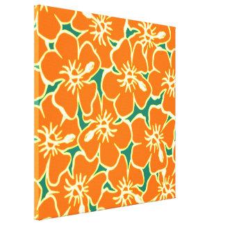 El hibisco anaranjado florece arte hawaiano de la impresiones de lienzo