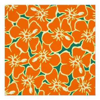 El hibisco anaranjado florece el poster hawaiano