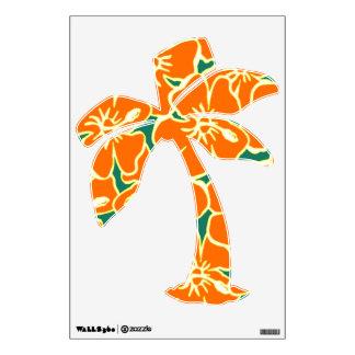 El hibisco anaranjado florece la palmera hawaiana