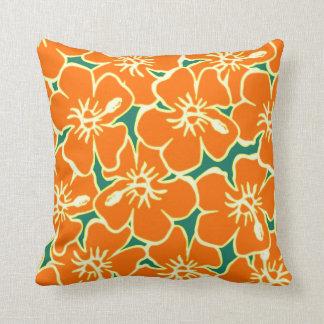 El hibisco anaranjado florece Luau hawaiano Cojín