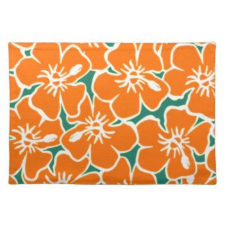 El hibisco anaranjado florece Luau hawaiano Manteles Individuales