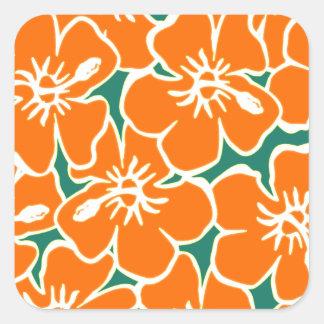 El hibisco anaranjado florece Luau hawaiano Pegatina Cuadrada