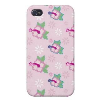 El hibisco floral florece rosa iPhone 4 carcasa