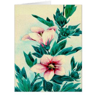 El hibisco florece 1870 tarjeta de felicitación grande