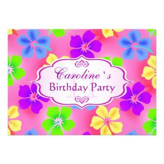 El hibisco florece a la fiesta de cumpleaños invitaciones personalizada