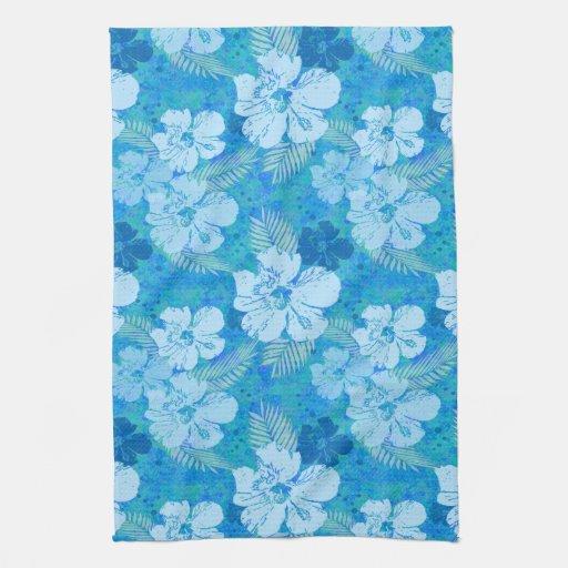 El hibisco florece el azul toalla