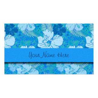 El hibisco florece el batik azul tarjetas de visita