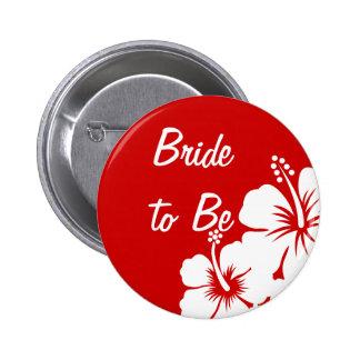 El hibisco florece el boda pin redondo de 2 pulgadas