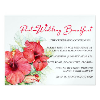 El hibisco florece el desayuno o el brunch del Pos Invitación