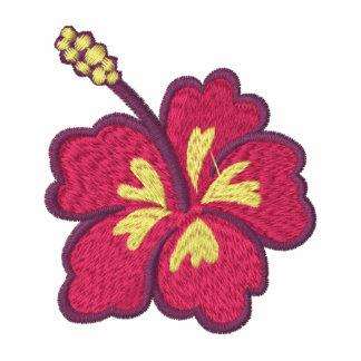 El hibisco florece la chaqueta bordada de las