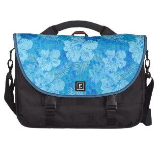 El hibisco florece la tela azul del batik bolsas para ordenador