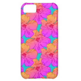 El hibisco florece rosa en la turquesa funda para iPhone 5C