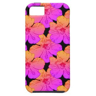 El hibisco florece rosa en negro iPhone 5 fundas
