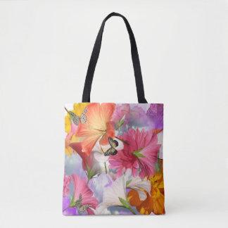 El hibisco florece todo encima - la bolsa de asas