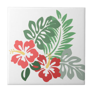El hibisco florece w/Greens; Style2: Revestimiento Azulejo Cuadrado Pequeño