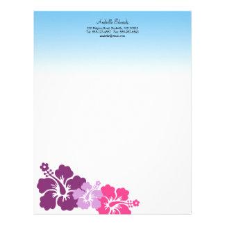 El hibisco hawaiano florece verano de la púrpura d membrete personalizado