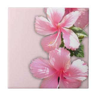 El hibisco hawaiano rosado florece la teja
