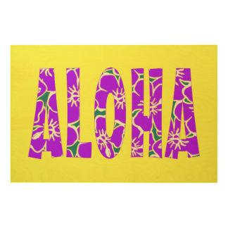 El hibisco púrpura de la hawaiana florece amarillo impresión en madera
