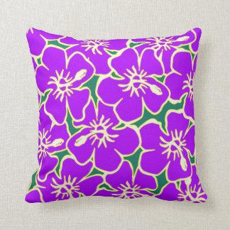 El hibisco púrpura florece Luau hawaiano tropical Cojín